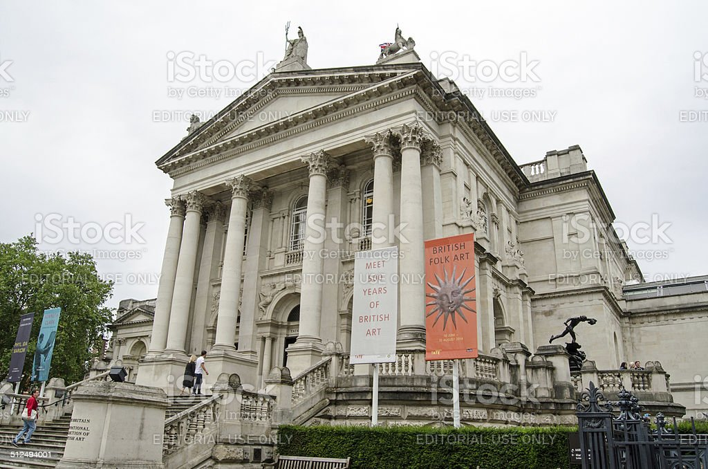 Tate Gallery, entrance stock photo