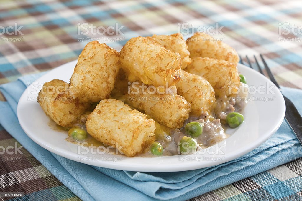 Tater Tot Casserole Plate royalty-free stock photo