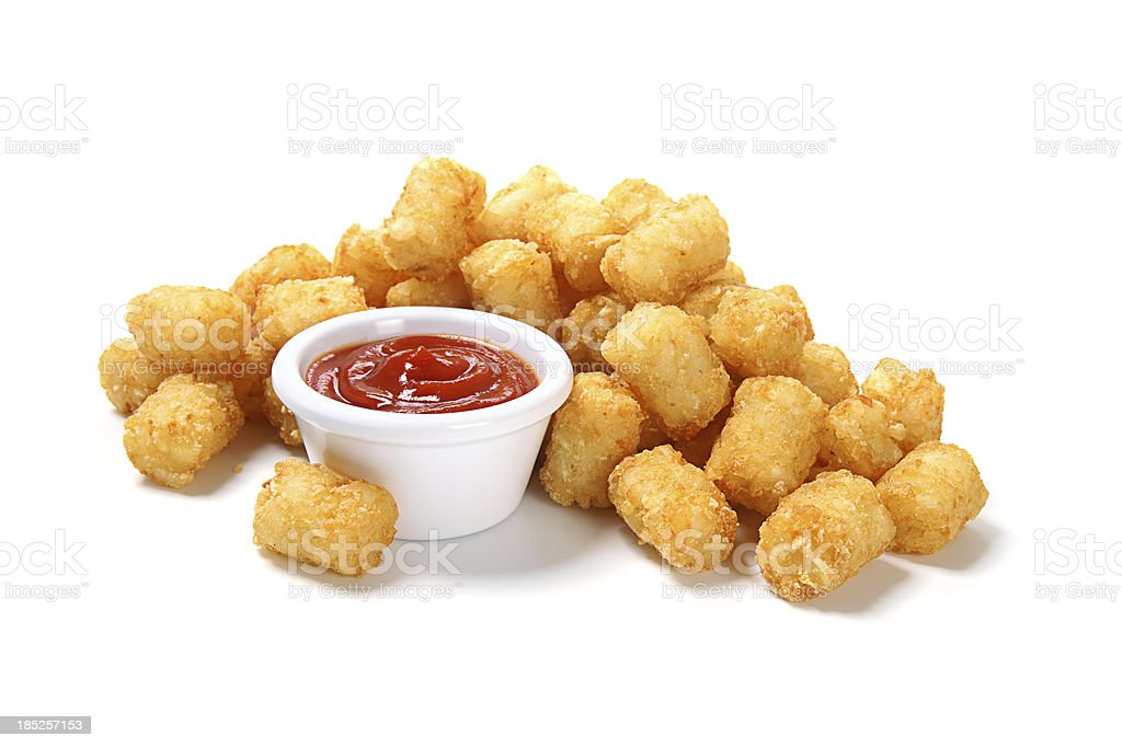 Tater Tots with Ketchup stock photo