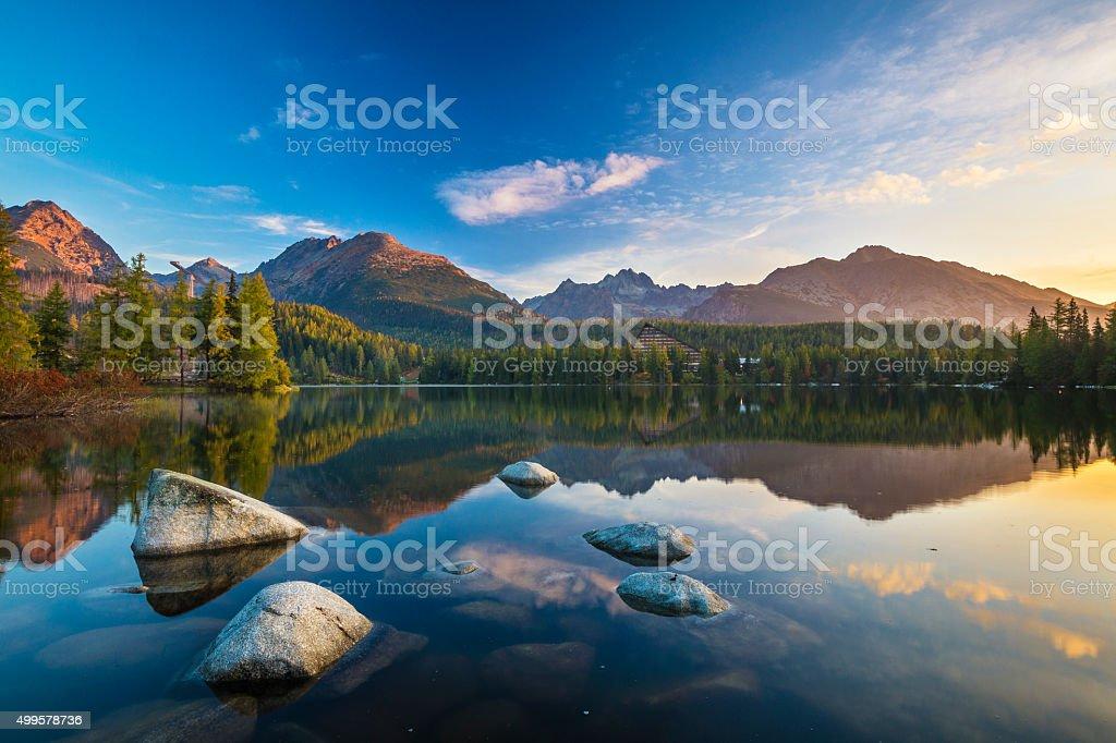 Tatra lake Strbske Pleso, Slovakia stock photo