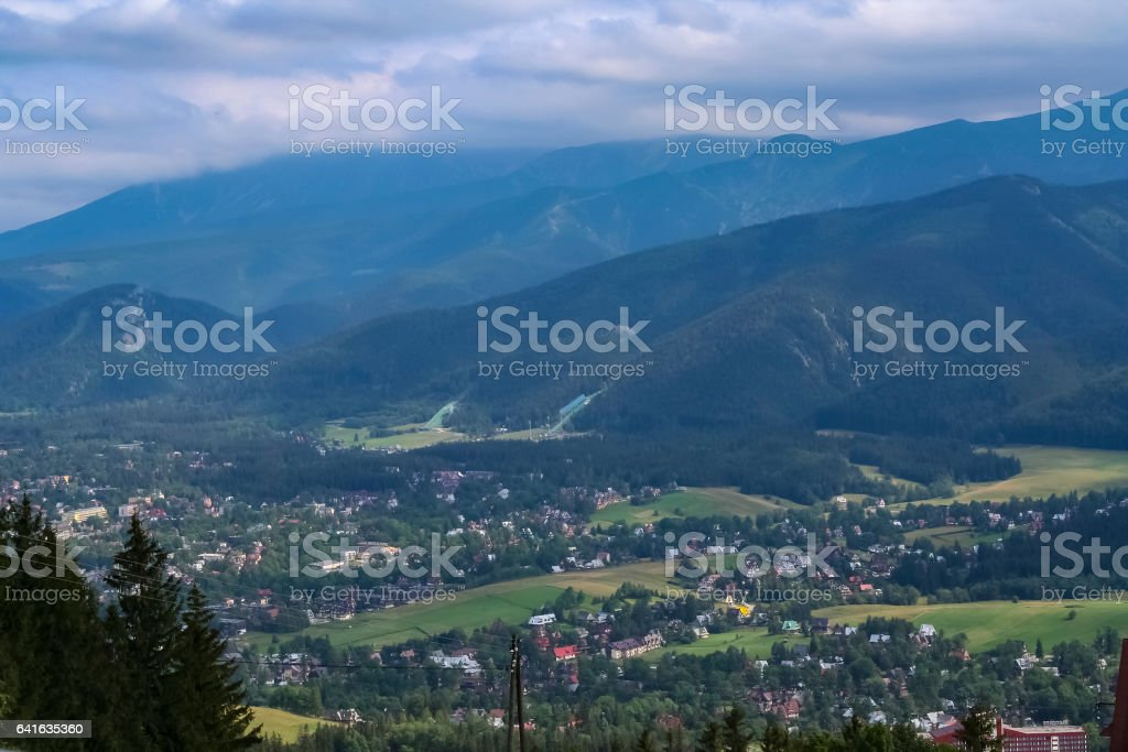 Tatra Mountains and the town of Zakopane stock photo