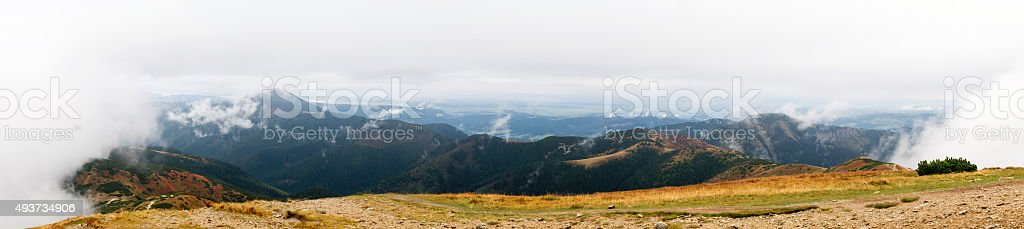 Tatra mountains in clouds stock photo