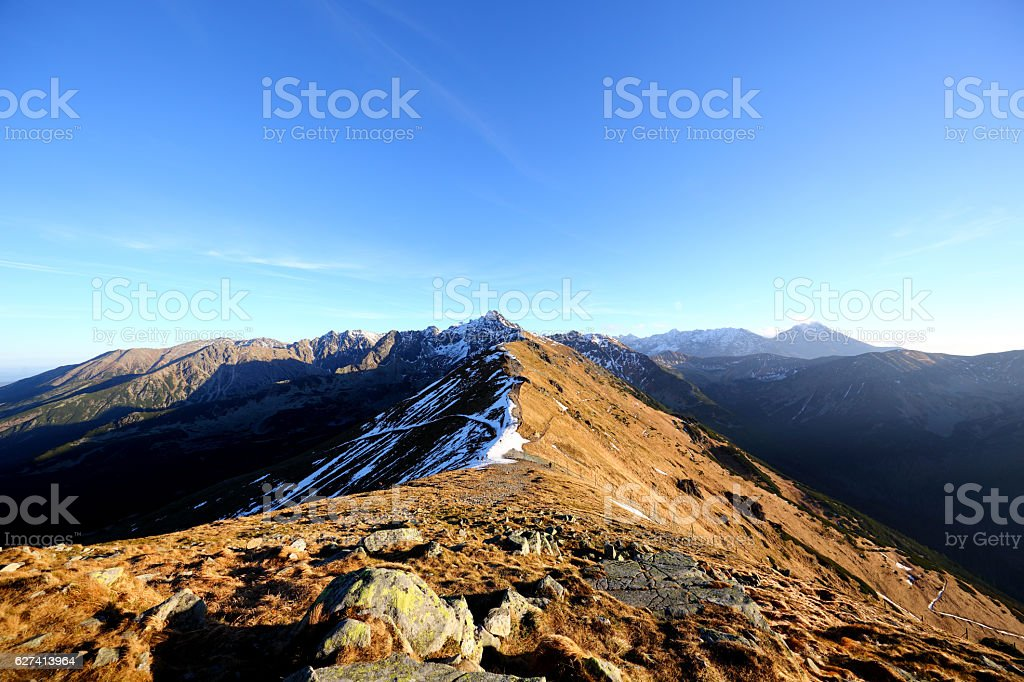Tatra Mountains, View from Kasprowy, November, Focal Length 11mm stock photo