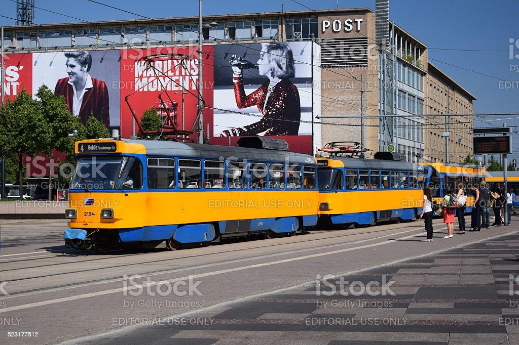 Tatra tram in Leipzig centre stock photo