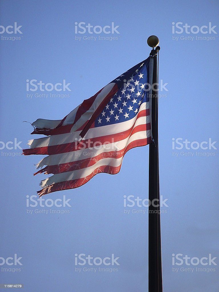 Tattered American Flag royalty-free stock photo