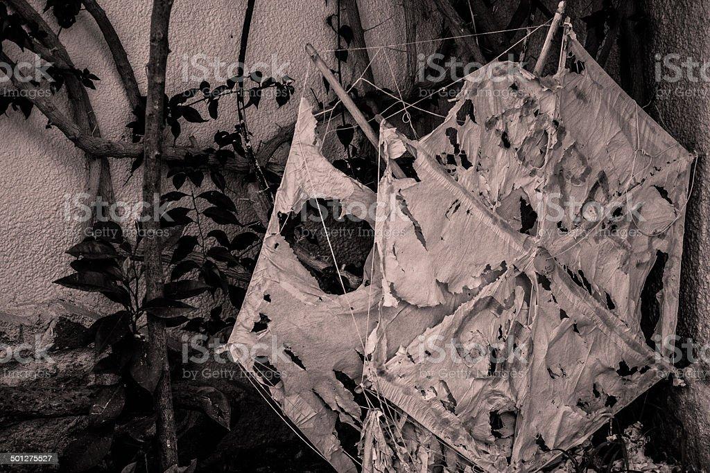 Tattered Hand-made Kites stock photo