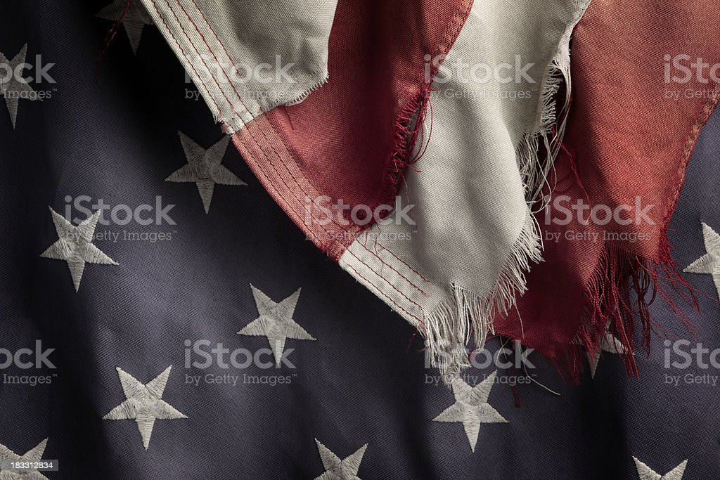 Tattered US Flag stock photo