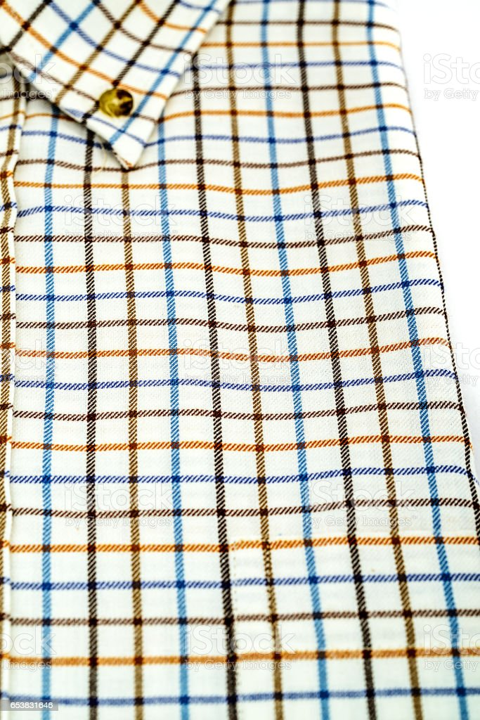 Tattersall shirt isolated on white stock photo