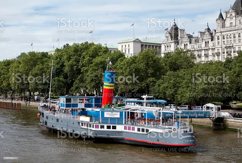 Tattershall Castle floating pub by the Embankment stock photo