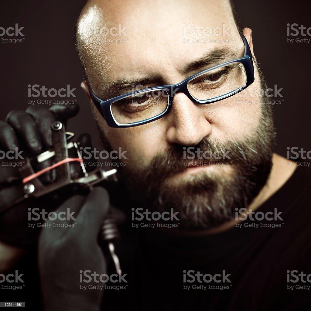 Tattoo artist portrait stock photo