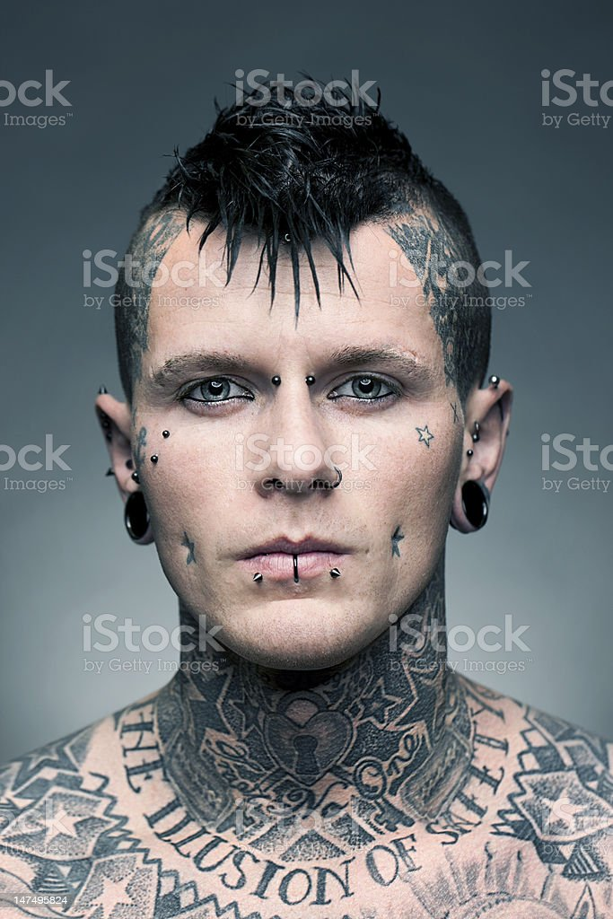 Tattoo artist portrait stock photo