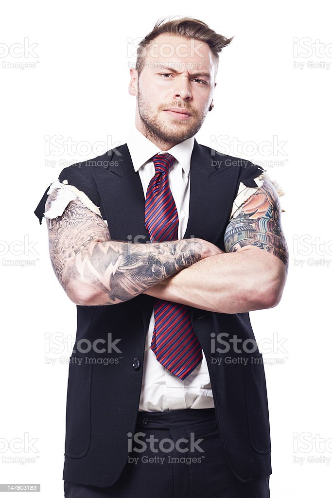 Tattoo Businessman looking at you royalty-free stock photo
