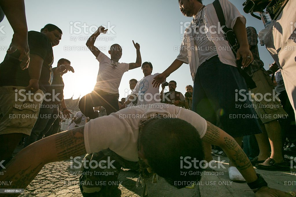 Tattoo Festival in Wat Bang Pra monastery, Thailand royalty-free stock photo