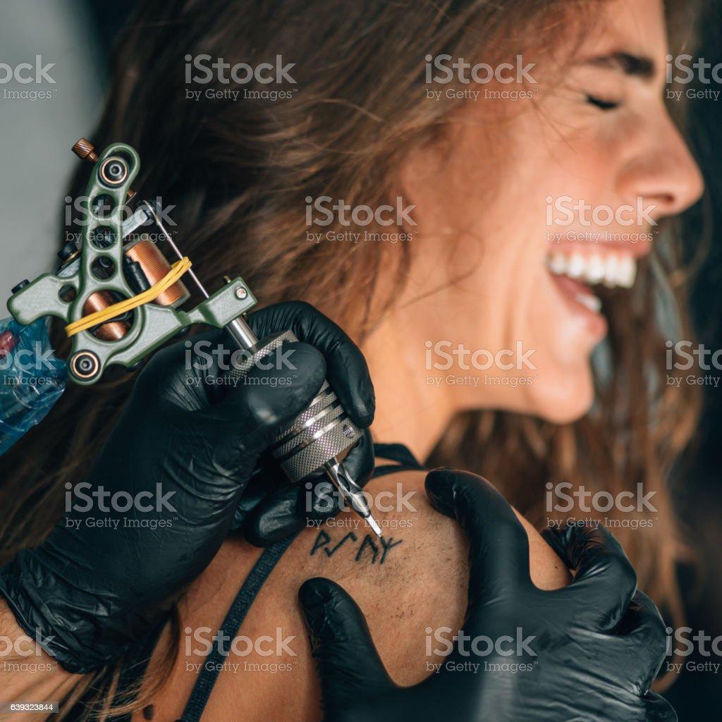 Tattoo girl stock photo