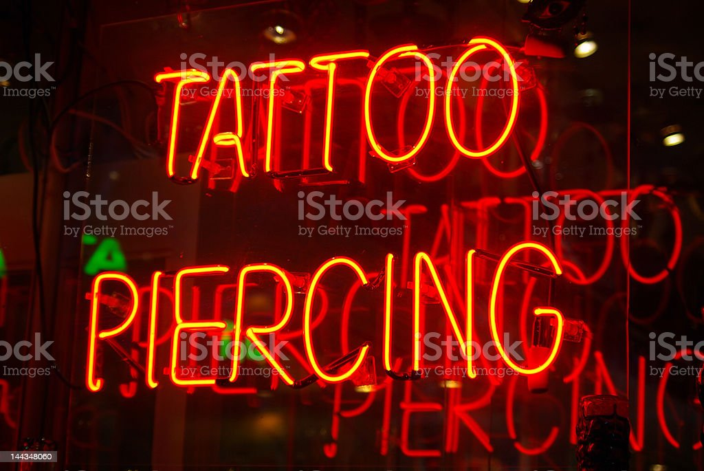 Tattoo parlor sign stock photo