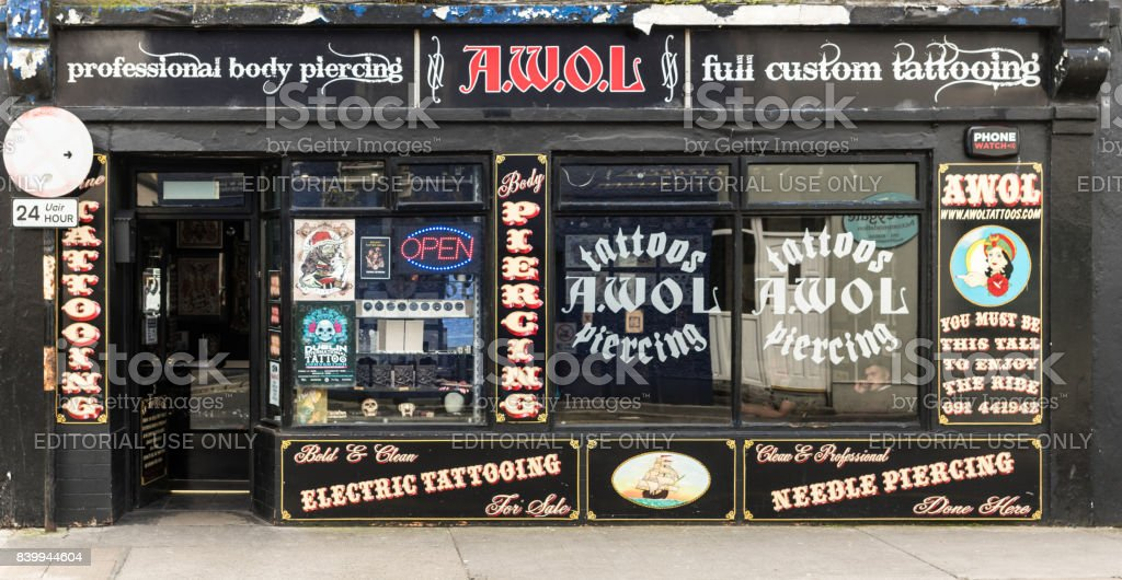 Tattoo Parlour in Galway, Ireland. stock photo