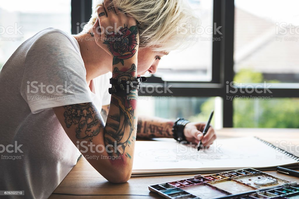 Tattoo Woman Creative Ideas Design Inspiration Concept stock photo
