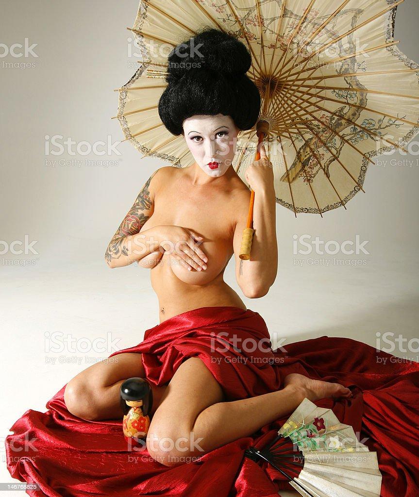 Tattooed Geisha Portrait modest umbrella royalty-free stock photo