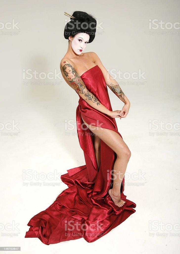 Tattooed Geisha Portrait royalty-free stock photo