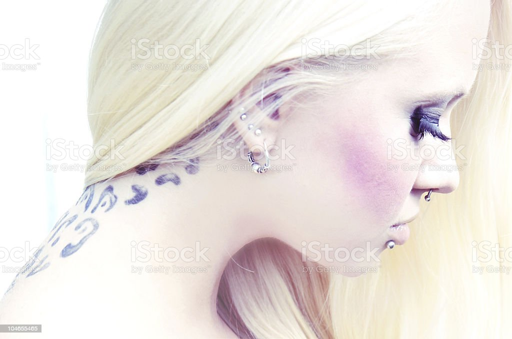 tattooed girl royalty-free stock photo