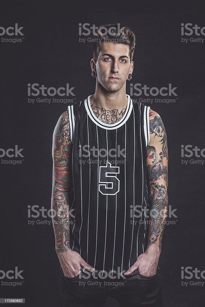 Tattooed man posing. royalty-free stock photo