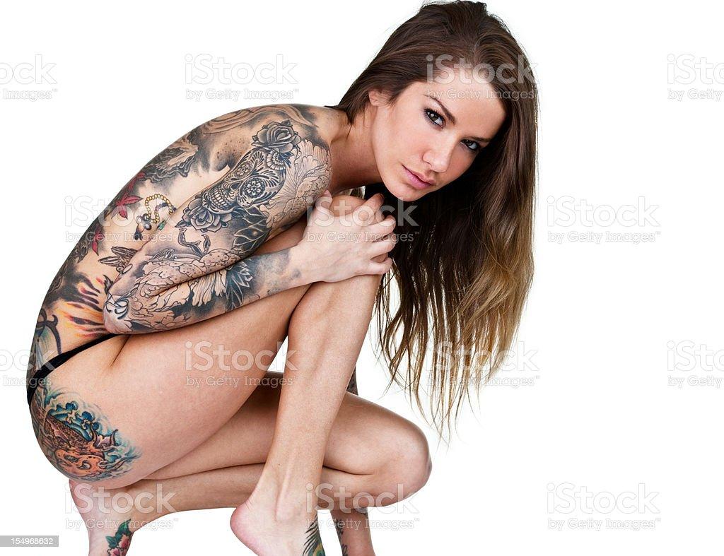 Tattooed woman royalty-free stock photo