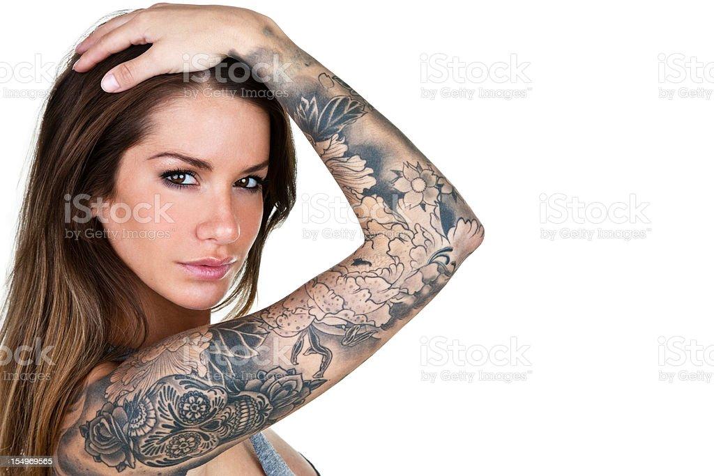 Tattooed woman stock photo