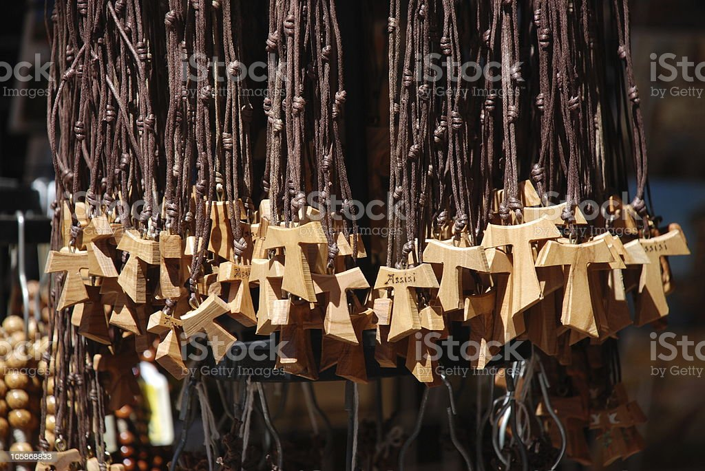 Tau crosses for sale in the town of Assisi royalty-free stock photo