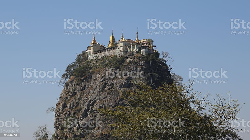 Taung Kalat Volcanic chimney, Pedestal Hill , Popa Mount, Myanmar stock photo