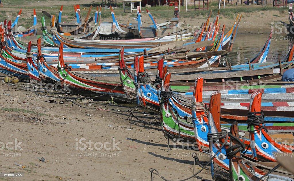 Taungthaman lake, Amarapura, Myanmar stock photo