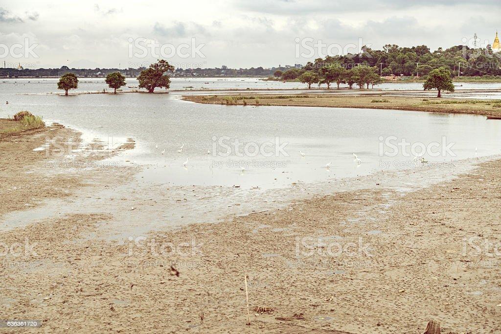 Taungthaman lake in Amarapura, Myanmar stock photo