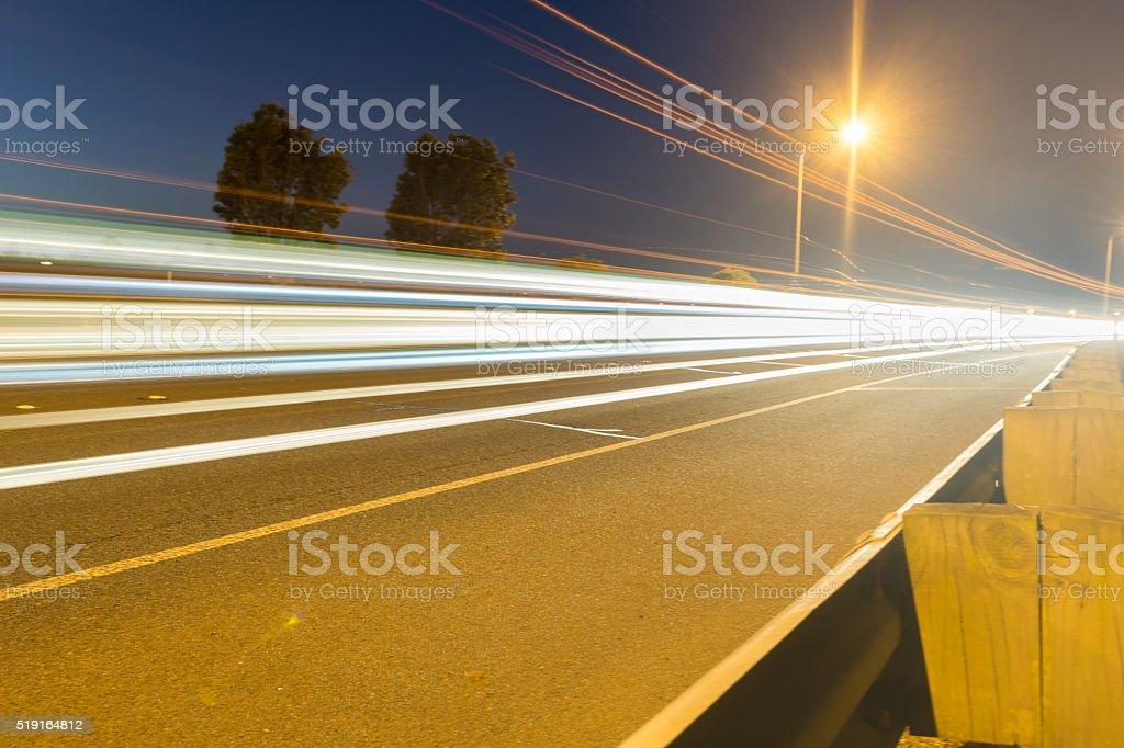 Tauranga Takitimu Expressway in dark of night stock photo