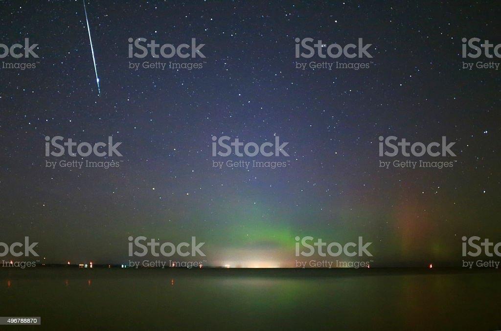 Taurid Meteor Shower and Aurora stock photo