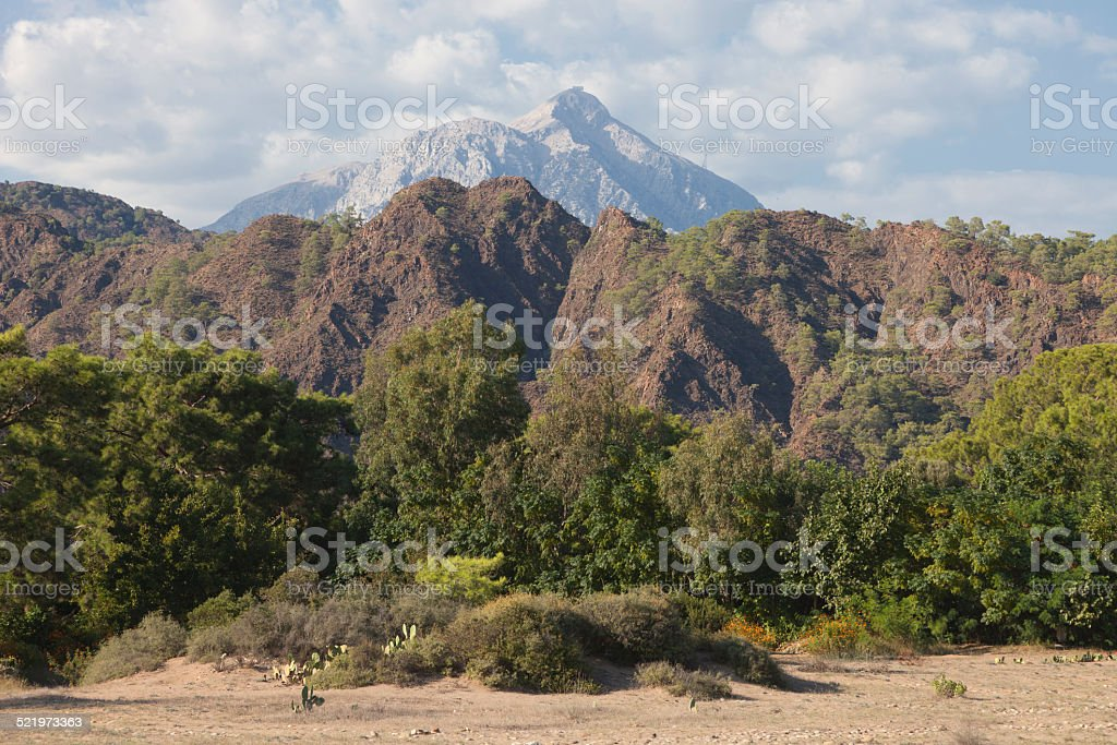 Taurus Mountains with Tahtali Mountain in Turkey stock photo