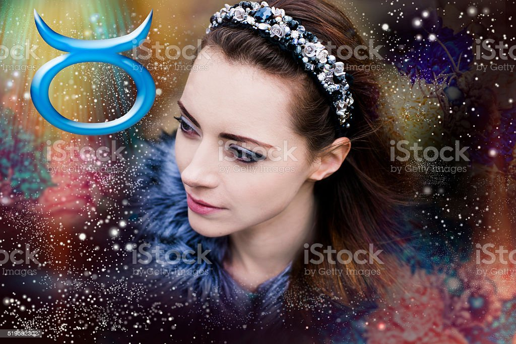 Taurus, the woman in astrology, stock photo