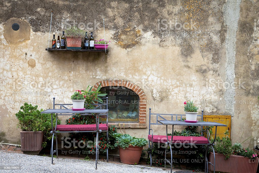 Tavern outdoor in Tuscany. Color image stock photo