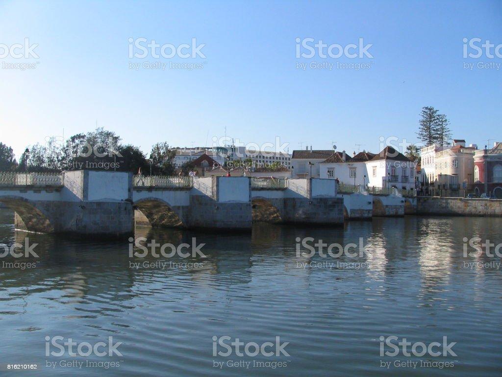Tavira bridge stock photo