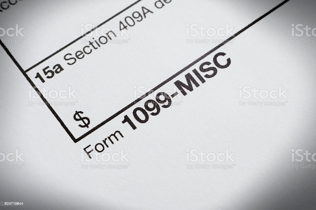 Tax 1099 Misc form stock photo