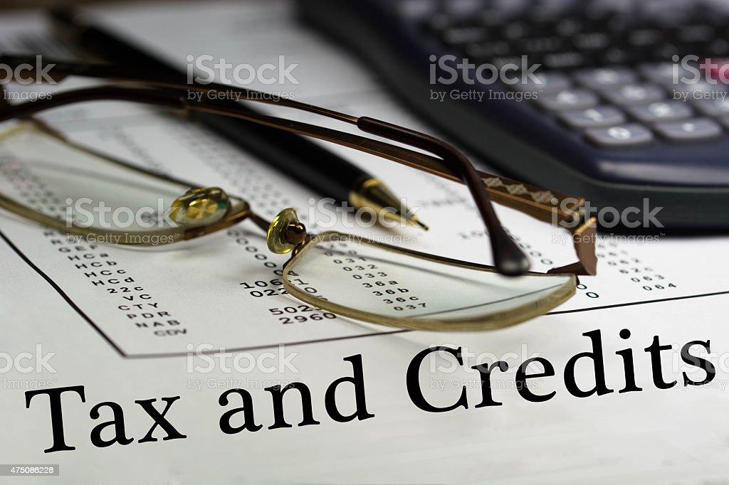 Tax and credits stock photo