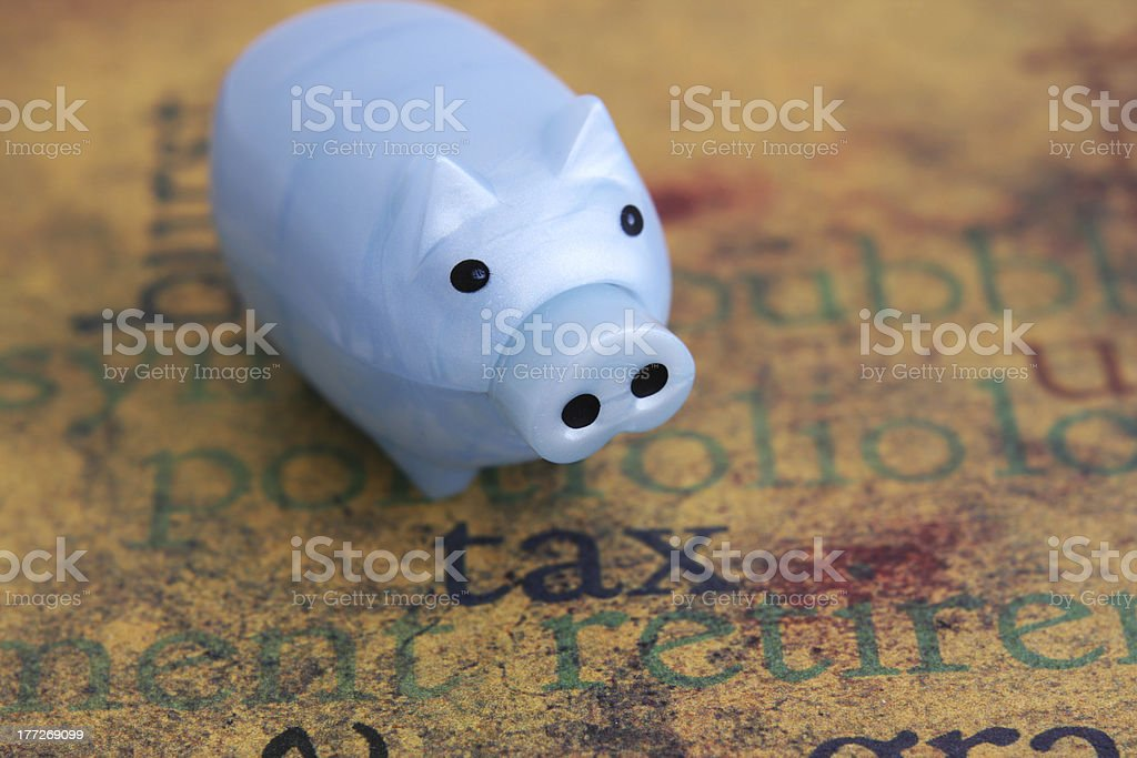 Tax and piggy bank royalty-free stock photo