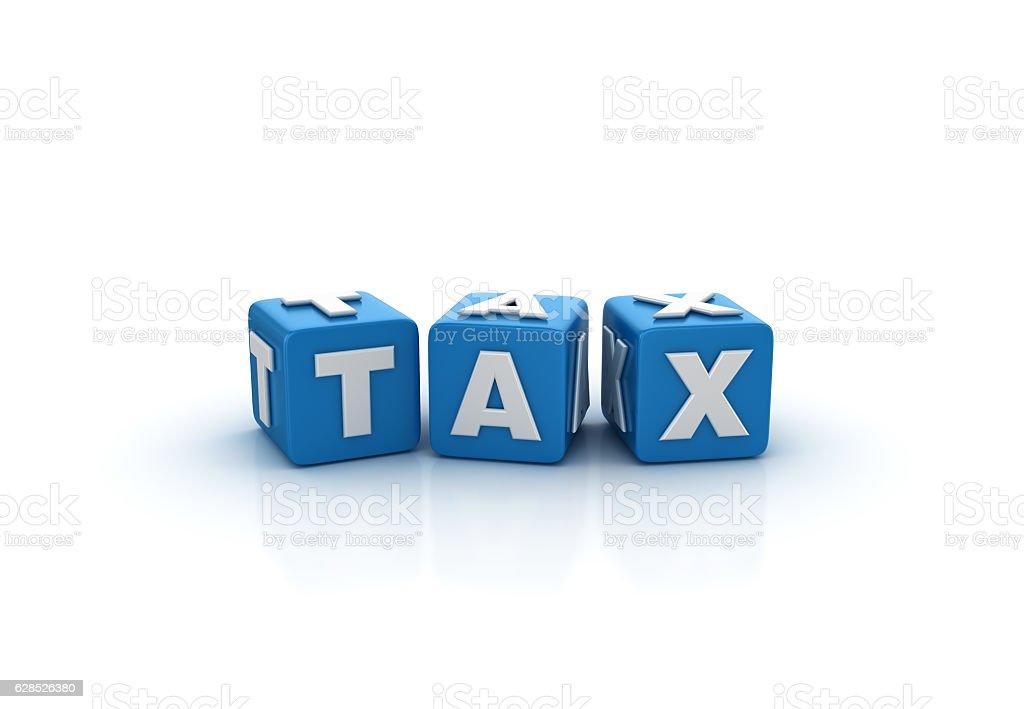 Tax Buzzword Cubes - 3D Rendering stock photo