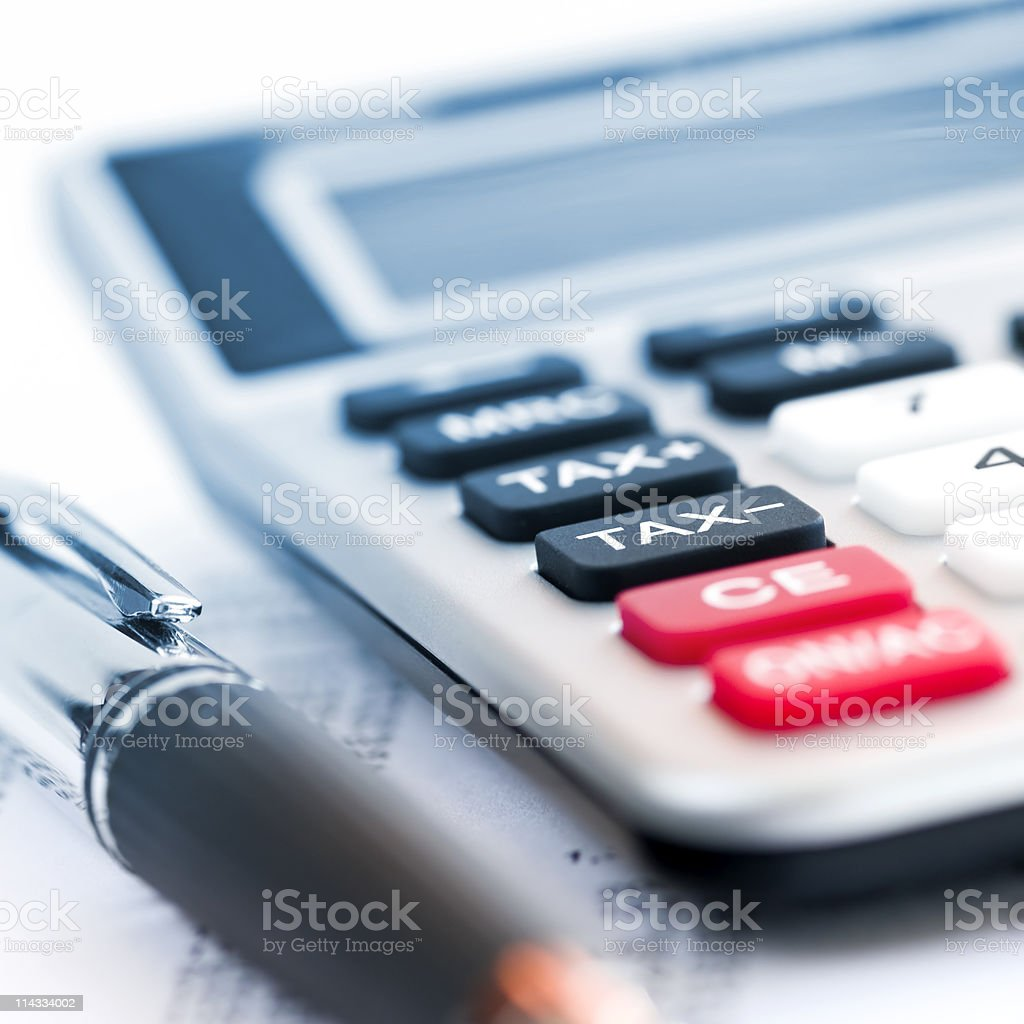 Tax calculator and pen stock photo