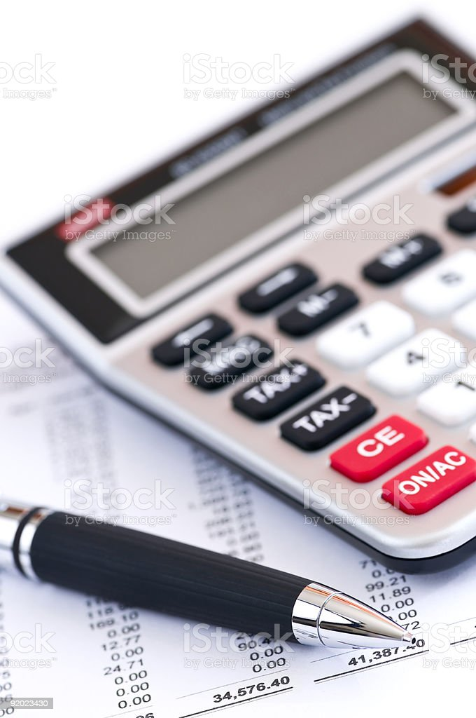 Tax calculator and pen royalty-free stock photo