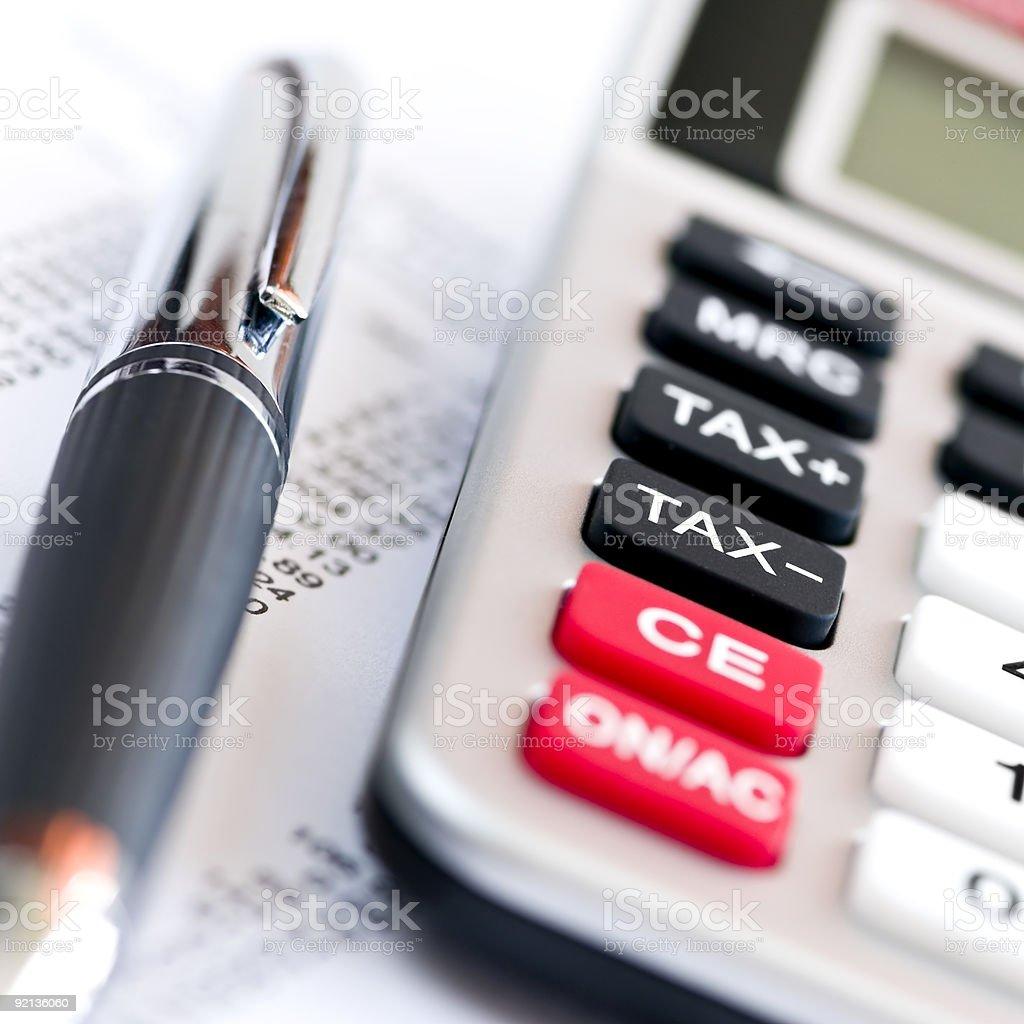 Tax calculator and pen stock photo