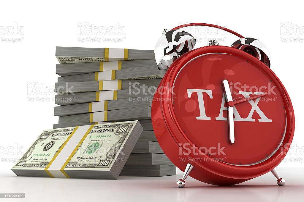 Tax Clock with Money royalty-free stock photo
