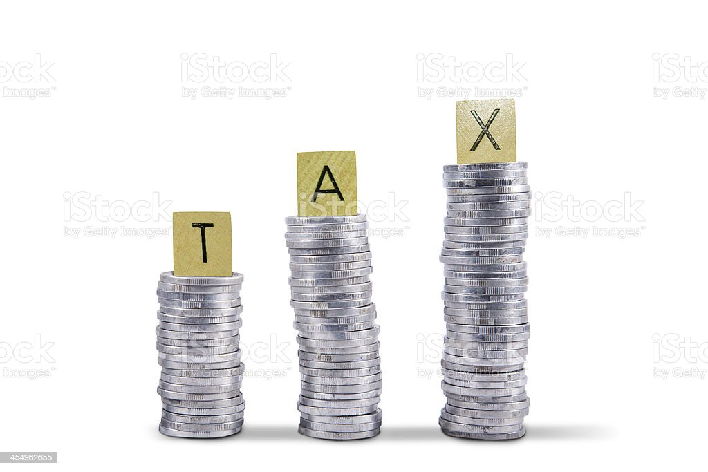 Tax collection coins - isolated stock photo