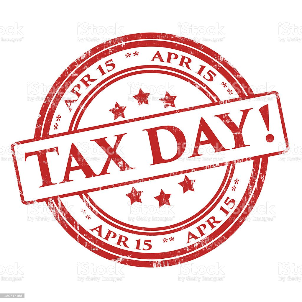 Tax Day, April 15 - Rubber Stamp, Grunge, Circle stock photo