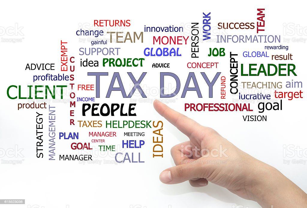 tax day word cloud. hand writing isolated stock photo