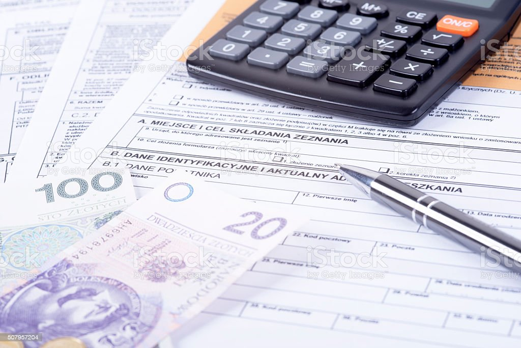 Tax declaration pit stock photo