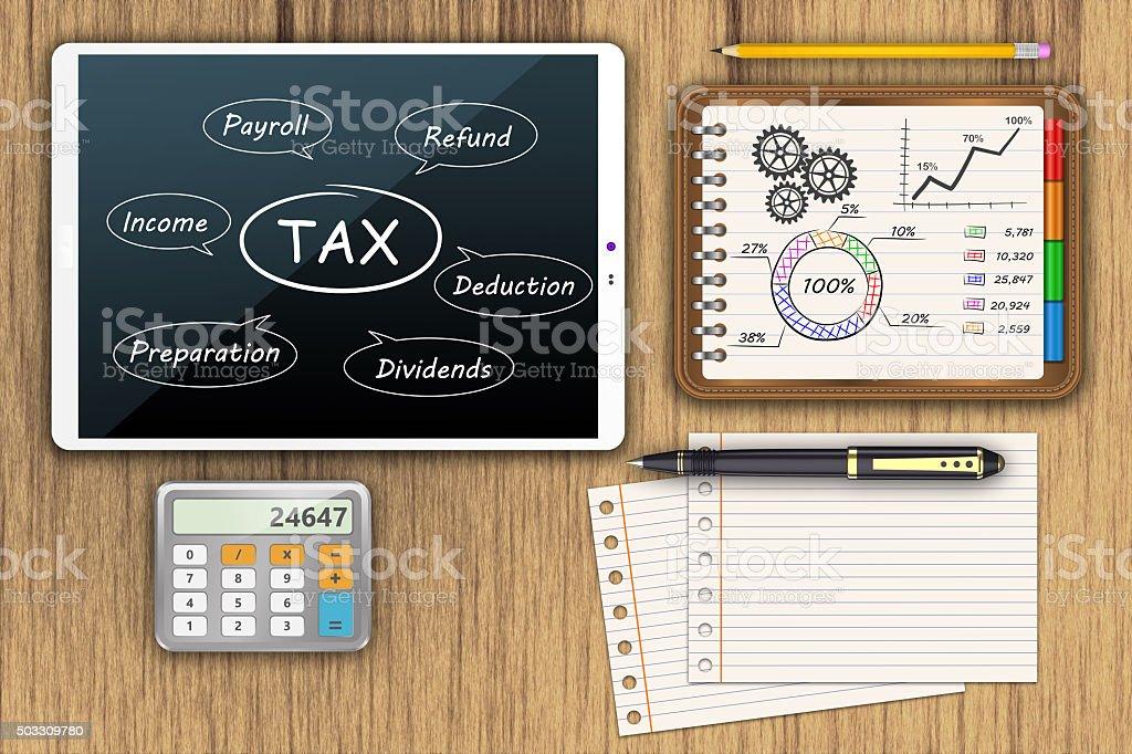 Tax economy refund money stock photo